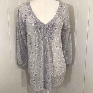LC sheer floral peplum boho blouse
